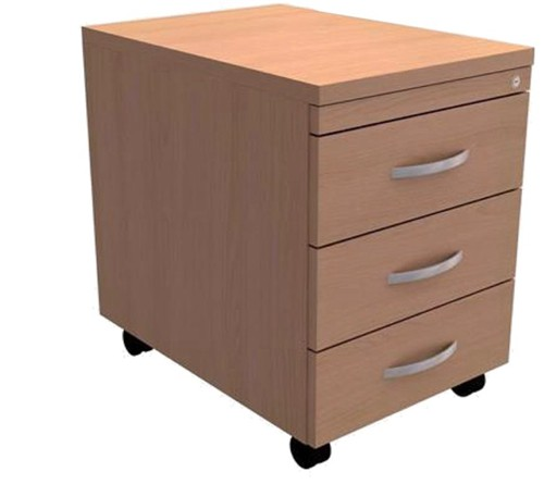 Trexus Mobile 3-Drawer Pedestal W400xD600xH602mm Beech