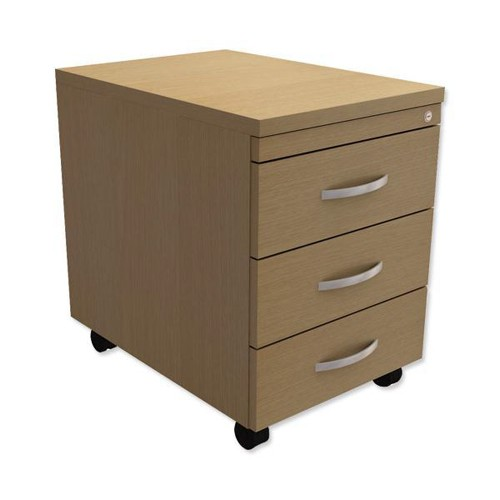 Trexus Mobile 3-Drawer Pedestal W400xD600xH602mm Oak