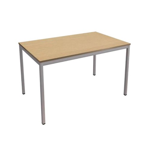 Trexus Rectangular Office Table with Silver Legs 18mm Top W1500xD750xH725mm Oak