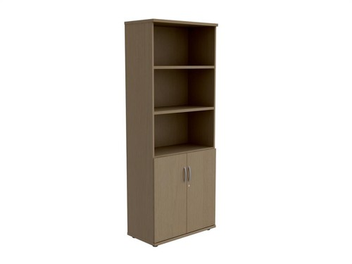 Trexus Tall Cupboard Part-Open with Lockable Bottom Doors W800xD420xH2053mm Oak