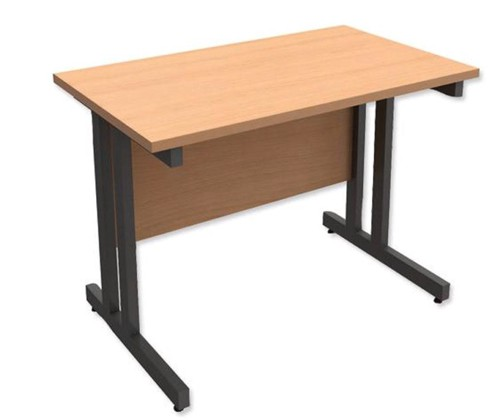 Trexus Contract Plus Cantilever Rectangular Return Desk Graphite Legs W1000xD600xH725mm Beech