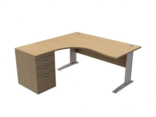 Trexus Premier Radial Desk Left Hand with 600mm Desk-High Pedestal W1600xD1600xH720mm Oak