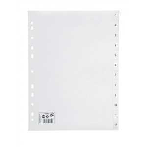 5 Star Index Multipunched 120 micron Polypropylene 1-12 A4 White