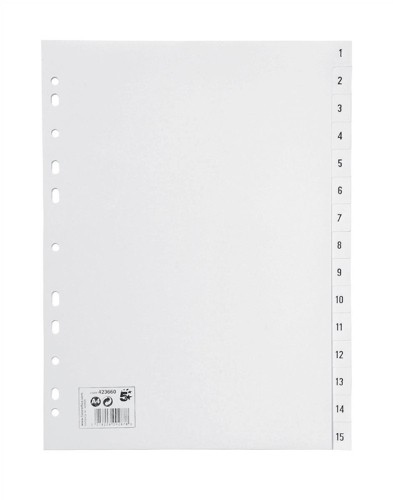 5 Star Office PP Index A4 White 1-15