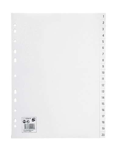 5 Star Index Multipunched 120 micron Polypropylene 1-20 A4 White