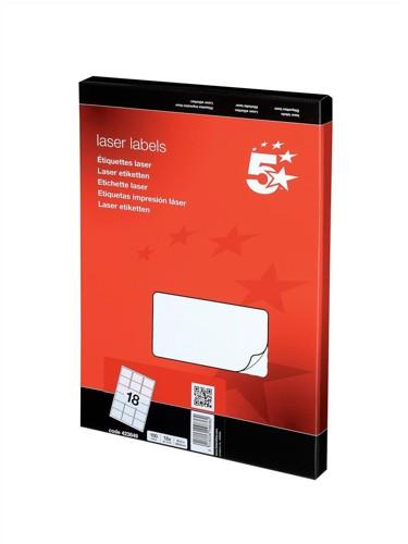5 Star Addressing Labels Laser 18 per Sheet 63.5x46.6mm White [1800 Labels]