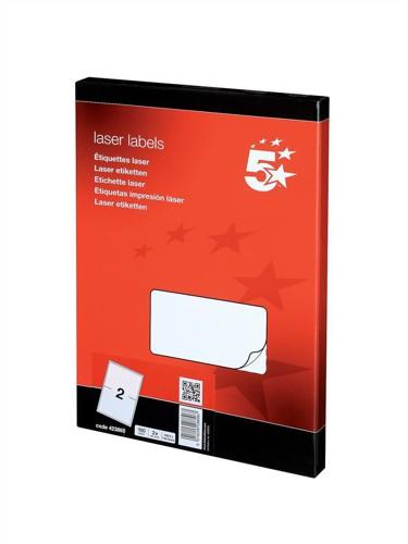 5 Star Addressing Labels Laser 2 per Sheet 199.6x143.5mm White [200 Labels]