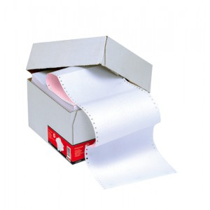 5 Star Listing Paper 2-Part NCR Perforated 56/57gsm 11inchx241mm Plain White/Pink [1000 Sheets]