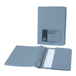 5 Star Flat File with Pocket Recycled Manilla 315gsm 38mm Foolscap Blue [Pack 25]