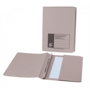 5 Star Flat File with Pocket Recycled Manilla 315gsm 38mm Foolscap Buff [Pack 25]
