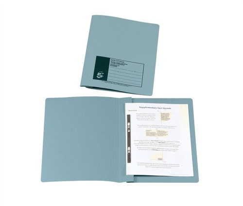 5 Star Flat File Recycled Manilla 315gsm 38mm Foolscap Blue [Pack 50]