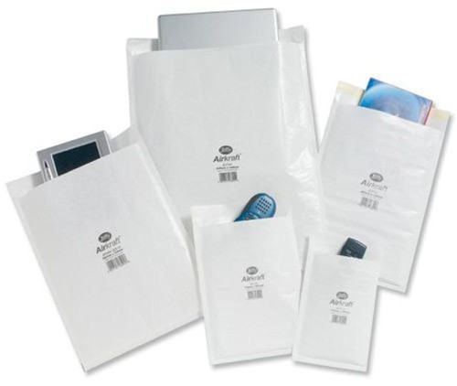 Jiffy Airkraft Postal Bags Bubble-Lined Peel And Seal No.4 White 240x320mm Code JL-AMP-4-10