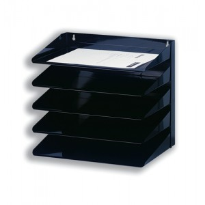 Avery Organisers 605S 5 Tier Letter Rack Black Steel Wall or Desk Mounted 335x380x230 Code 605SBLK
