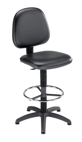 Trexus High Rise Chair Fixed Vinyl Medium Back H310mm W460xD430xH680-820mm Black