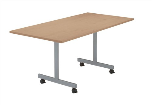 Sonix2 Basic Mobile Flip-Top Rectangular Table W1600xD800xH720mm Oak