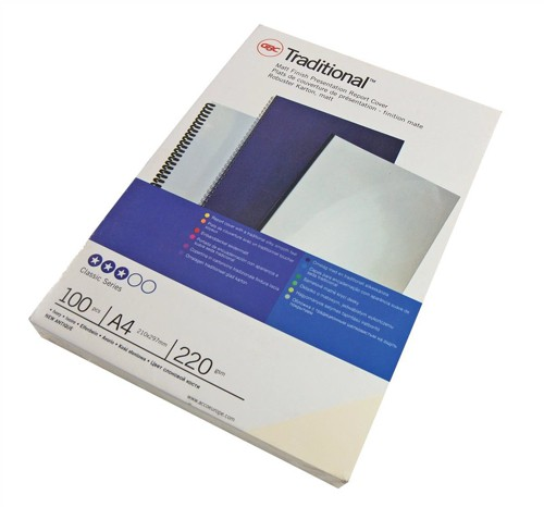 GBC Comb Binding Covers 220gsm A4 Optimal Matt Silk White Ref CEO80070 [Pack 50x2]