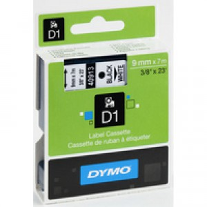 Dymo D1 Tape for Electronic Labelmakers 9mmx7m Black on White Code S0720680