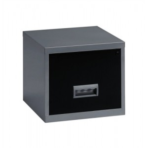 Filing Cabinet Steel Lockable 1 Drawer A4 Silver and Black