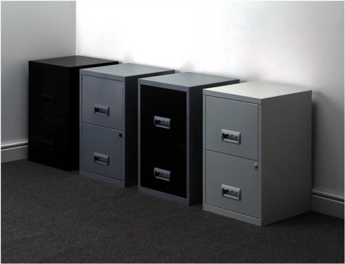 Filing Cabinet Steel Lockable 2 Drawers A4 Black