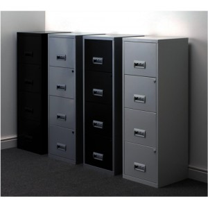 Filing Cabinet Steel Lockable 4 Drawers A4 Silver and Black