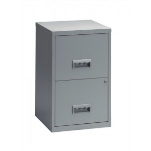 Filing Cabinet Steel Lockable 2 Drawers A4 Grey