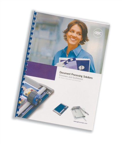 GBC Report Covers Front PVC A4 Clear and Back A4 Leathergrain White Ref CR140070 [Pack 25x2]