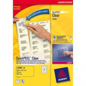 Avery Clear Addressing Labels Laser 21 per Sheet 63.5x38.1 Ref L7560-25 [525 Labels]