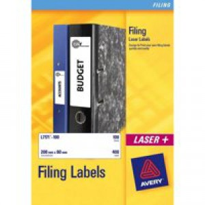 Avery Filing Labels Laser Eurofolio 24 per Sheet 134x11mm Ref L7170-25 [600 Labels]