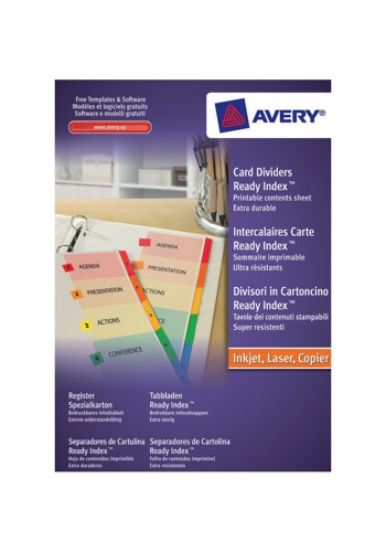 Avery ReadyIndex Dividers Mylar Tabs A4 1-6 Ref 01734501 L7411-6