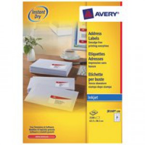 Avery Quick Dry Addressing Labels Inkjet 21 per Sheet 63.5x38.1mm White Code J8160-100