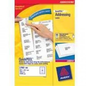 Avery Laser Labels 99.1x67.7mm 8 Per Sheet White 4000 Labels FSC Code L7165-500