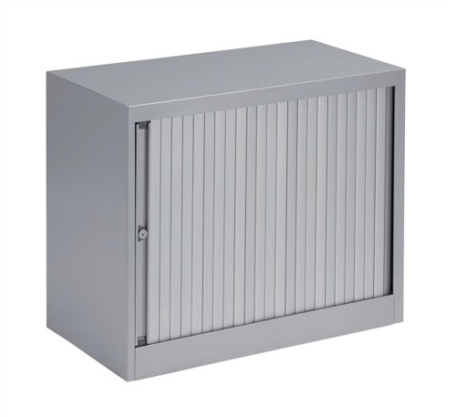 Bisley A4 EuroTambour Low Cupboard W800xD430xH695mm Silver Frame and Silver Shutters Ref ET408/06.SL arn