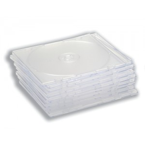 CD Case Slimline Jewel for 1 Disk Clear [Pack 10]