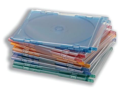 CD Case Slimline Jewel for 1 Disk Assorted [Pack 10]
