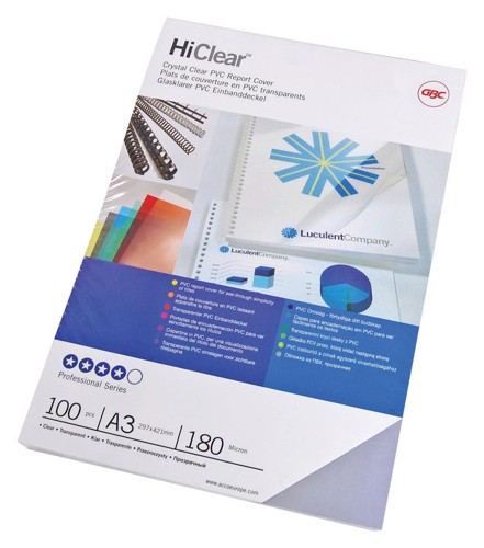 GBC HiClear Covers PVC 180micon A3 Clear Pack 100 Code CF121880