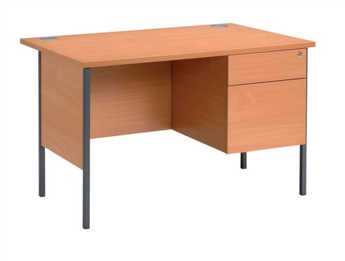Trexus Basics Desk Rectangular with 2 Drawer Filing Pedestal Graphite Legs 1200mm W1200xD800xH725 Beech