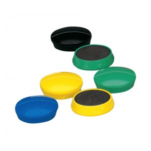 5 Star Round Plastic Covered Magnets 30mm Assorted [Pack 10]