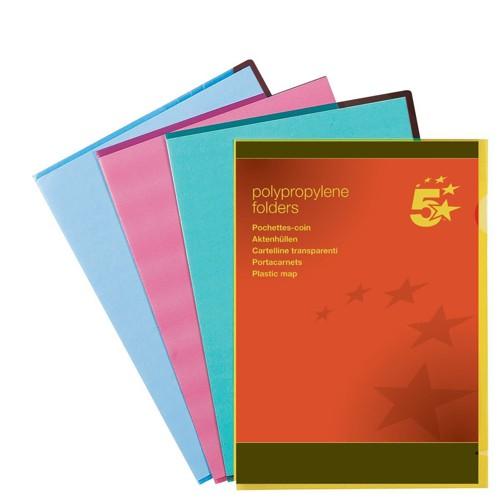 5 Star Folder Cut Flush Polypropylene Copy-safe Translucent A4 Blue [Pack 25]