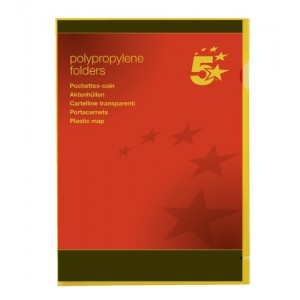5 Star Folder Cut Flush Polypropylene Copy-safe Translucent A4 Yellow [Pack 25]