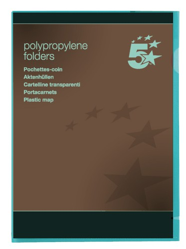5 Star Folder Cut Flush Polypropylene Copy-safe Translucent A4 Green [Pack 25]
