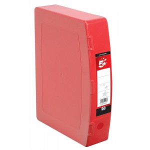 5 Star Box File Polypropylene with Twin Clip Lock Foolscap Red