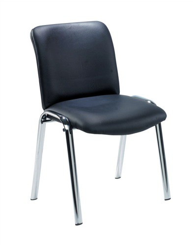 Trexus Princeton Side Chair Leather Chrome Legs Back H370mm Seat W440xD380xH400mm Black