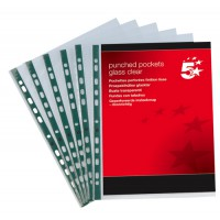 Image for 5 Star Punched Pocket Polypropylene Top-opening 60 Micron A4 Glass Clear [Pack 100]