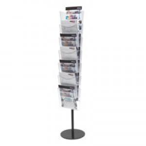 Literature Floor Stand Unit Portrait 7 x A4 Pockets Crystal