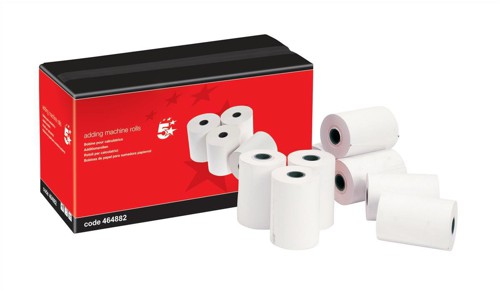 5 Star Adding Machine Roll 2-Ply 55gsm W57xD57xCore12.7mm White/White [Pack 20]