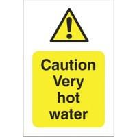 Stewart Superior Sign Caution Very Hot Water W75xH50mm Self-adhesive Vinyl Ref KS001SAV [Pack 5]
