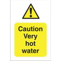Stewart Superior Sign Caution Very Hot Water W75xH50mm Self-adhesive Vinyl Ref KS001SAV [Pack 5]