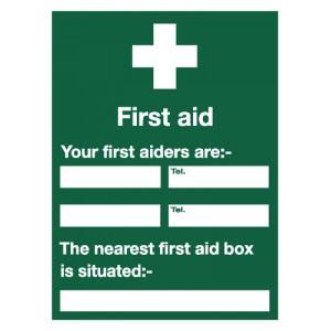 Stewart Superior Sign First Aid Sign W450xH600mm Self-adhesive Vinyl Ref KS008SAV