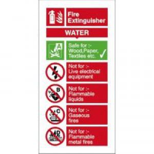 Stewart Superior Sign Water Fire-Extinguisher W100xH200mm Self-adhesive Vinyl Ref FF091SAV