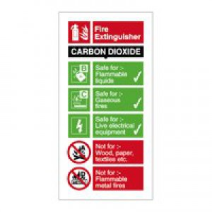 Stewart Superior Safety Sign CO2 Fire Extinguisher W100xH200mm Self-adhesive Vinyl Ref FF093SAV